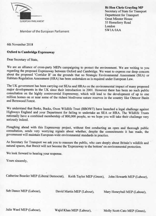 Cross-party MEPs' letter to Chris Grayling