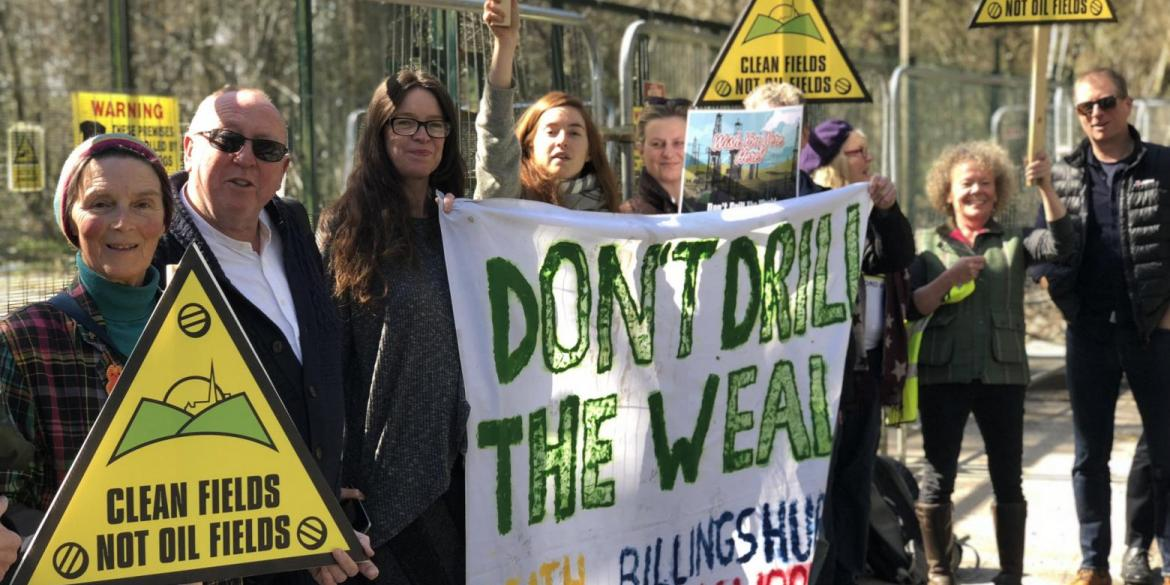 Keith with a famous face and fracking campaigners in Surrey