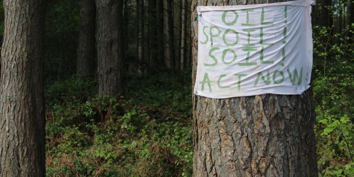 A sign on a tree in the woods threatened by oil drilling reads: oil, spoil, soil; act now!