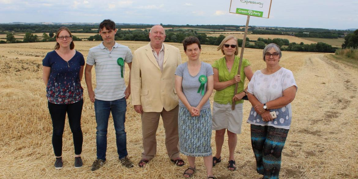Keith Taylor MEP, centre, with anti-Expressway campaigners in Oxfordshire