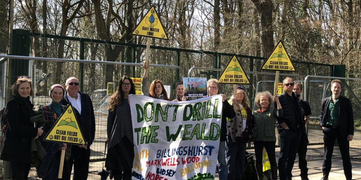 Keith Taylor MEP joins local councillor and campaigners opposing oil drilling in Surrey