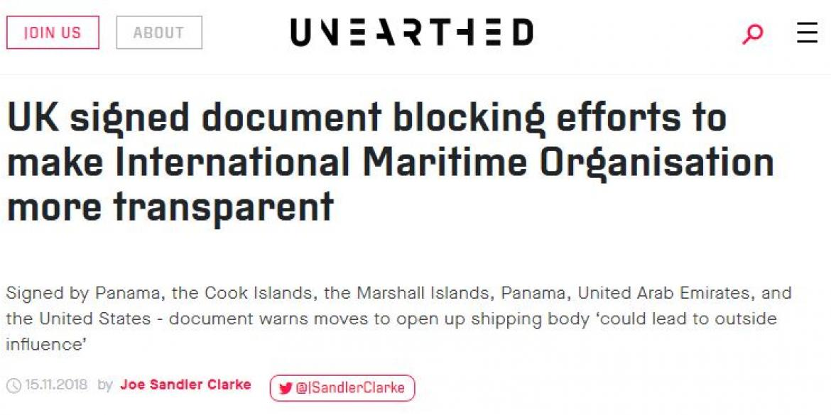 Unearthed headline reads: UK signed document blocking efforts to make International Maritime Organisation more transparent