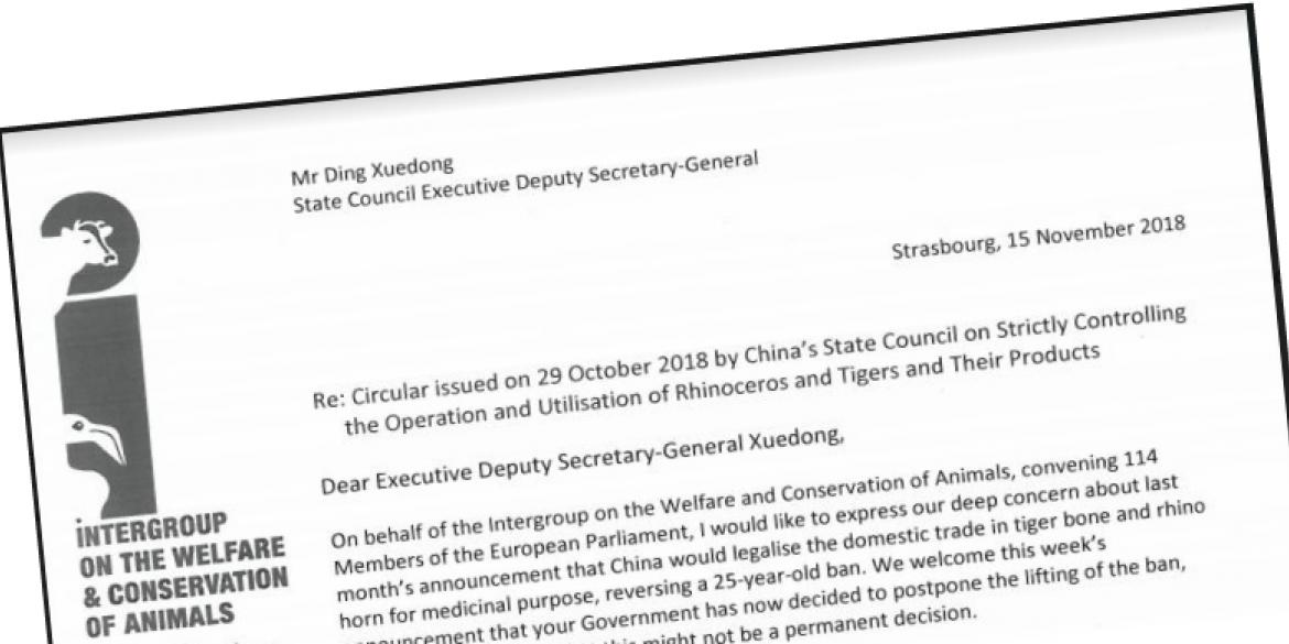 Animal Welfare Intergroup letter to China
