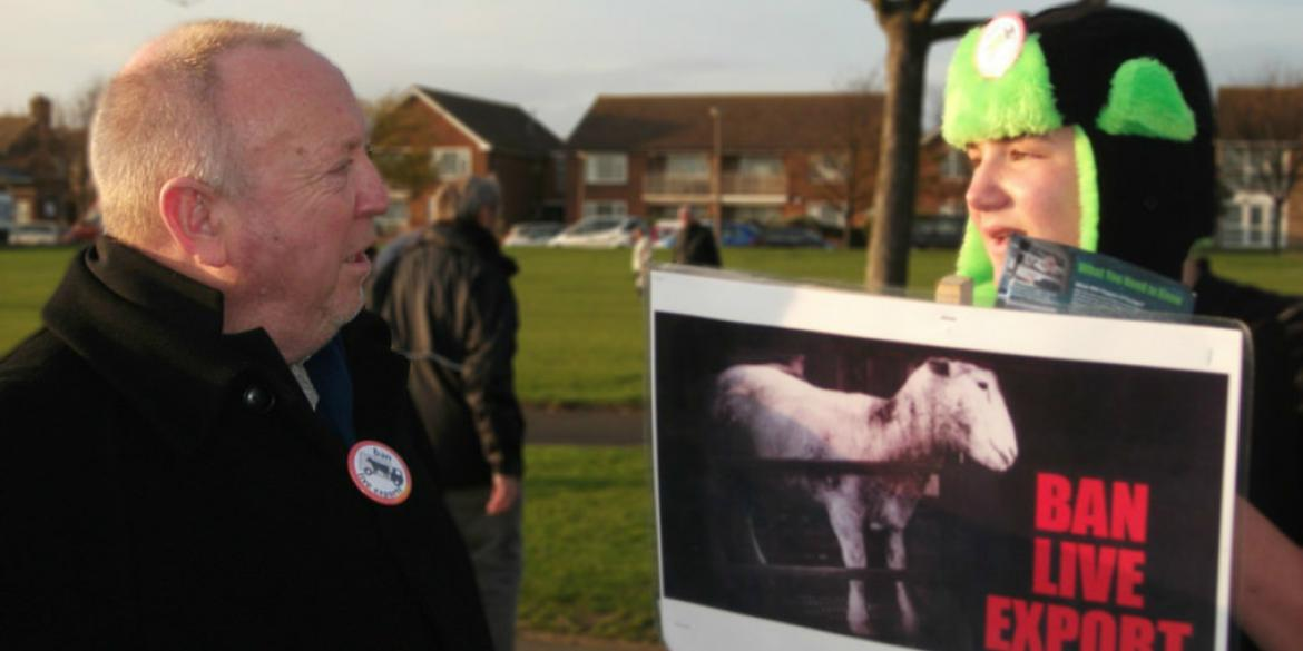 Keith Taylor MEP with live animal export campaigners in Ramsgate, Kent