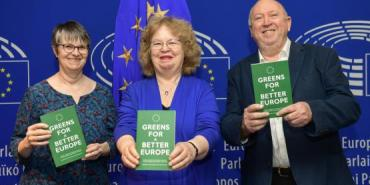 Molly Scott Cato, Jean Lambert and Keith Taylor all hold copies of the 'Greens for a Better Europe' book