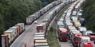 Lorries at a standstill on the M20 in Kent