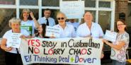 Keith Taylor MEP leads EU Thinking Deal + Dover campaigners at one of Dover's Western Docks Lorry stops in a demonstration against the Government's 'unworkable' customs plans