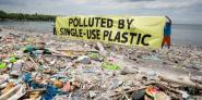 Greenpeace campaigners highlight the issue of plastic pollution